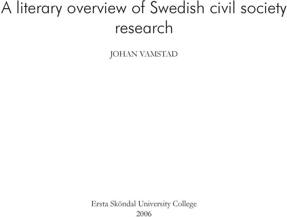research JOHAN VAMSTAD