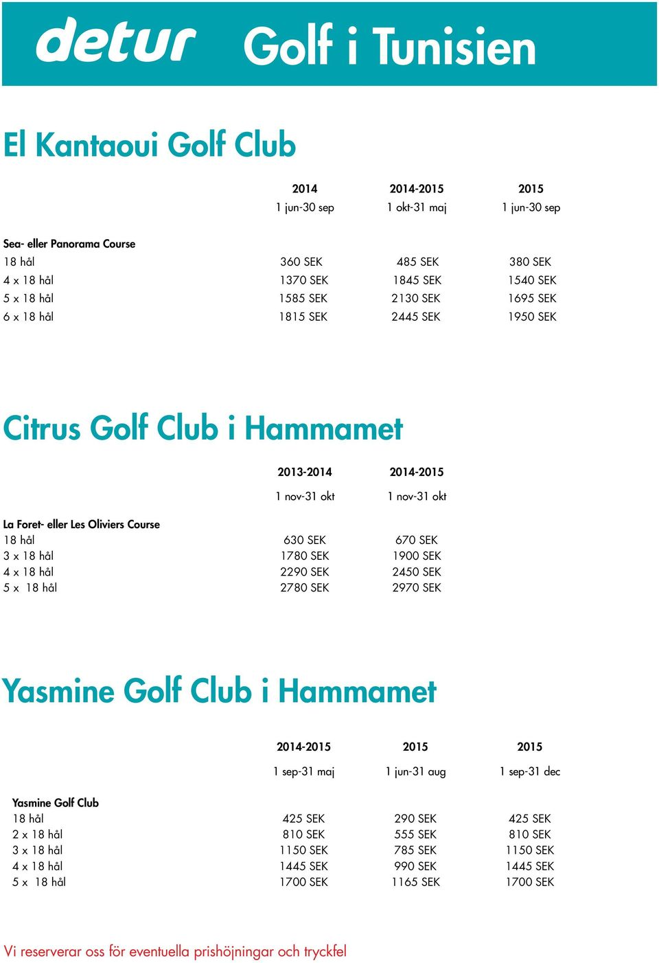 630 SEK 670 SEK 3 x 18 hål 1780 SEK 1900 SEK 4 x 18 hål 2290 SEK 2450 SEK 5 x 18 hål 2780 SEK 2970 SEK Yasmine Golf Club i Hammamet 2014-2015 2015 2015 1 sep-31 maj 1 jun-31 aug 1 sep-31 dec