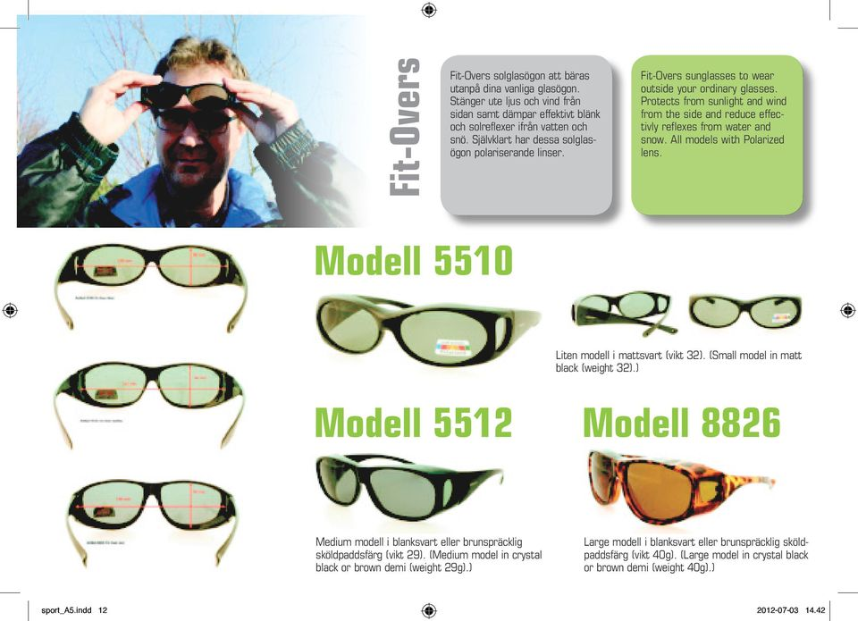 Protects from sunlight and wind from the side and reduce effectivly reflexes from water and snow. All models with Polarized lens. Modell 5510 Liten modell i mattsvart (vikt 32).