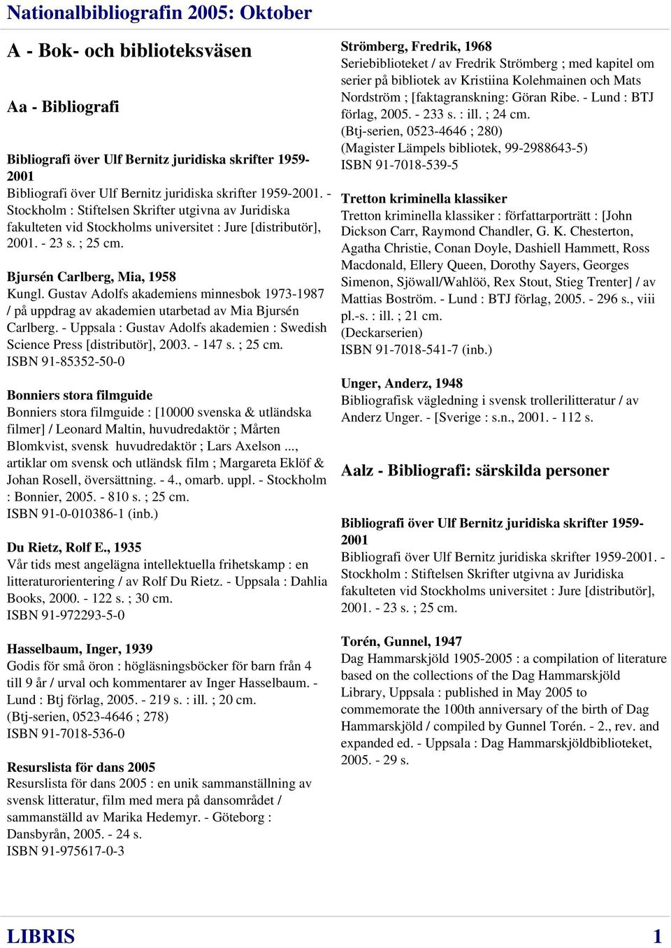 Gustav Adolfs akademiens minnesbok 1973-1987 / på uppdrag av akademien utarbetad av Mia Bjursén Carlberg. - Uppsala : Gustav Adolfs akademien : Swedish Science Press [distributör], 2003. - 147 s.