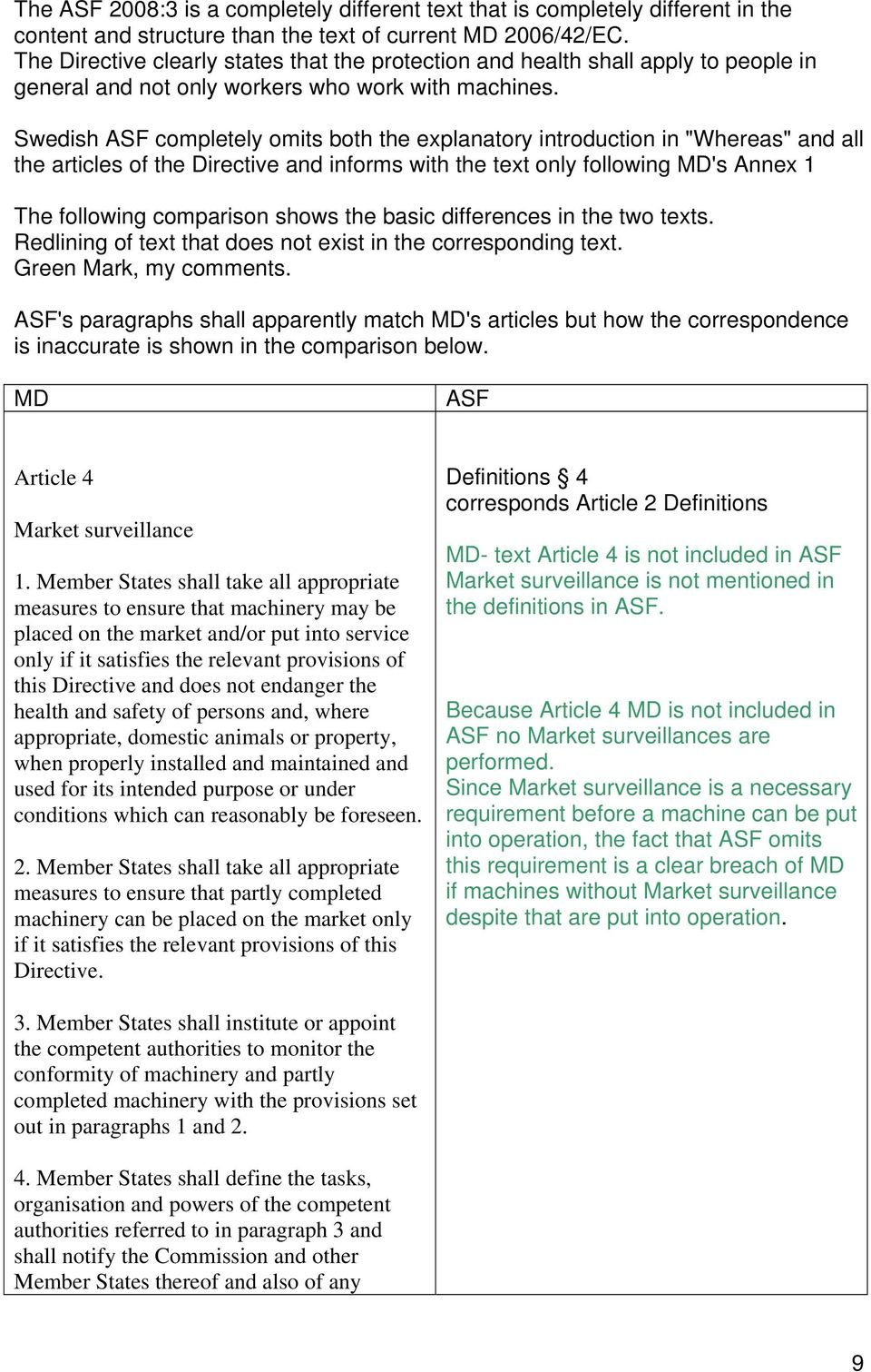 "Swedish ASF completely omits both the explanatory introduction in ""Whereas"" and all the articles of the Directive and informs with the text only following MD's Annex 1 The following comparison shows"