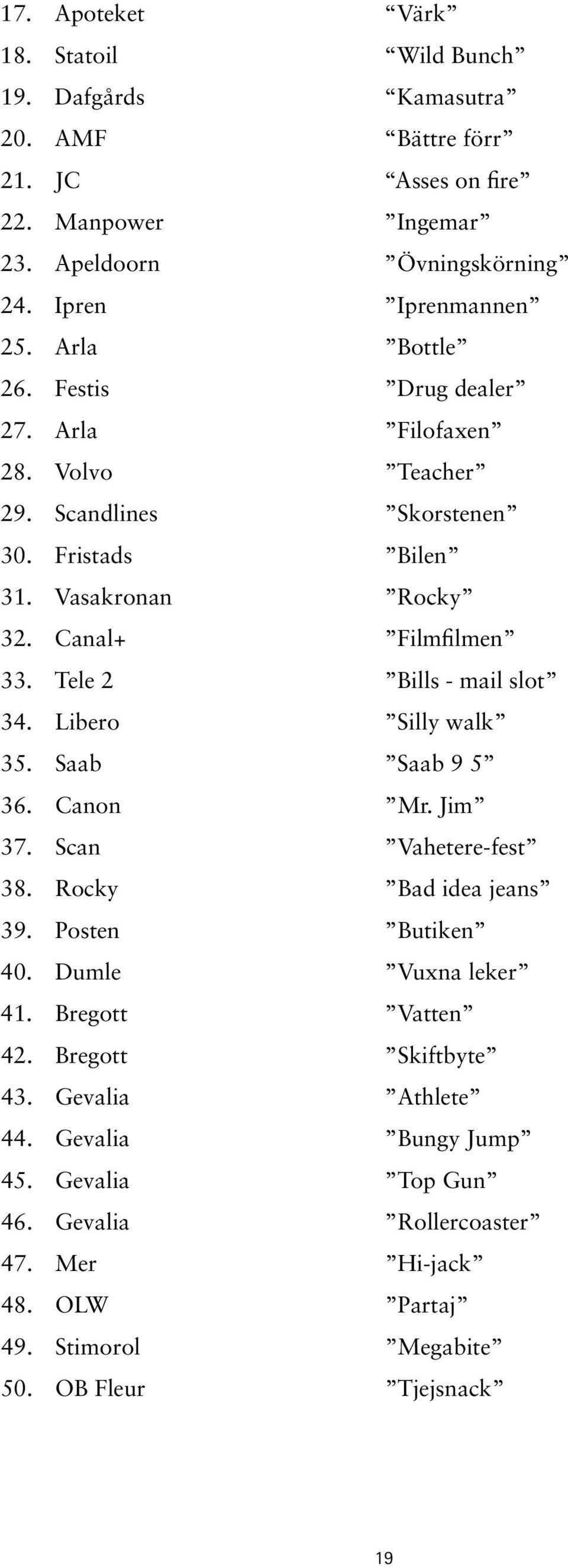 Tele 2 Bills - mail slot 34. Libero Silly walk 35. Saab Saab 9 5 36. Canon Mr. Jim 37. Scan Vahetere-fest 38. Rocky Bad idea jeans 39. Posten Butiken 40. Dumle Vuxna leker 41.