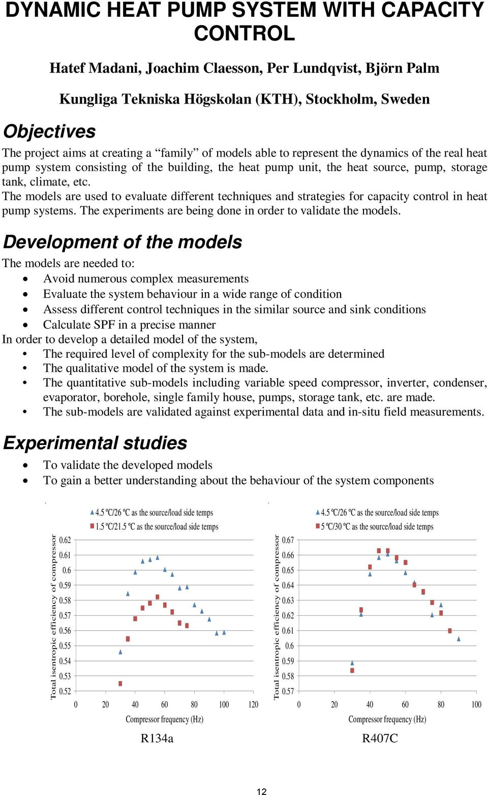 The models are used to evaluate different techniques and strategies for capacity control in heat pump systems. The experiments are being done in order to validate the models.