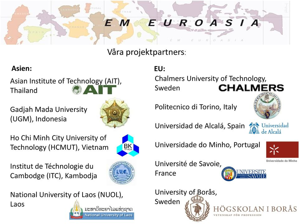 National University of Laos (NUOL), Laos EU: Chalmers University of Technology, Sweden Politecnico di Torino,