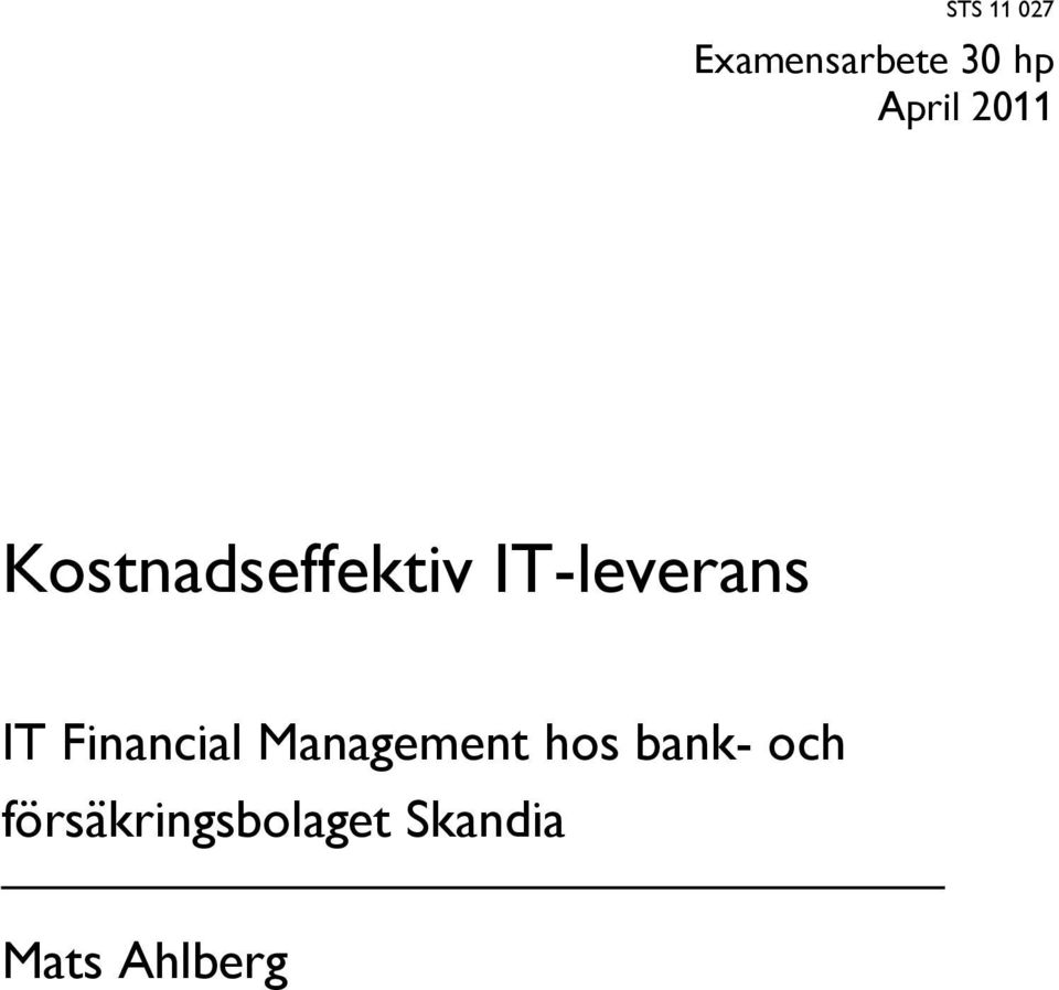 Financial Management hos bank- och