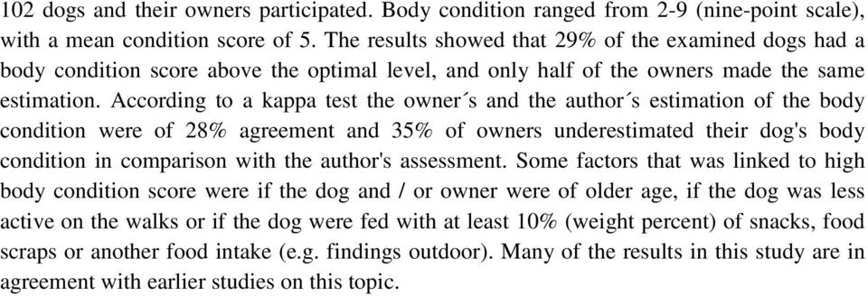 According to a kappa test the owner s and the author s estimation of the body condition were of 28% agreement and 35% of owners underestimated their dog's body condition in comparison with the