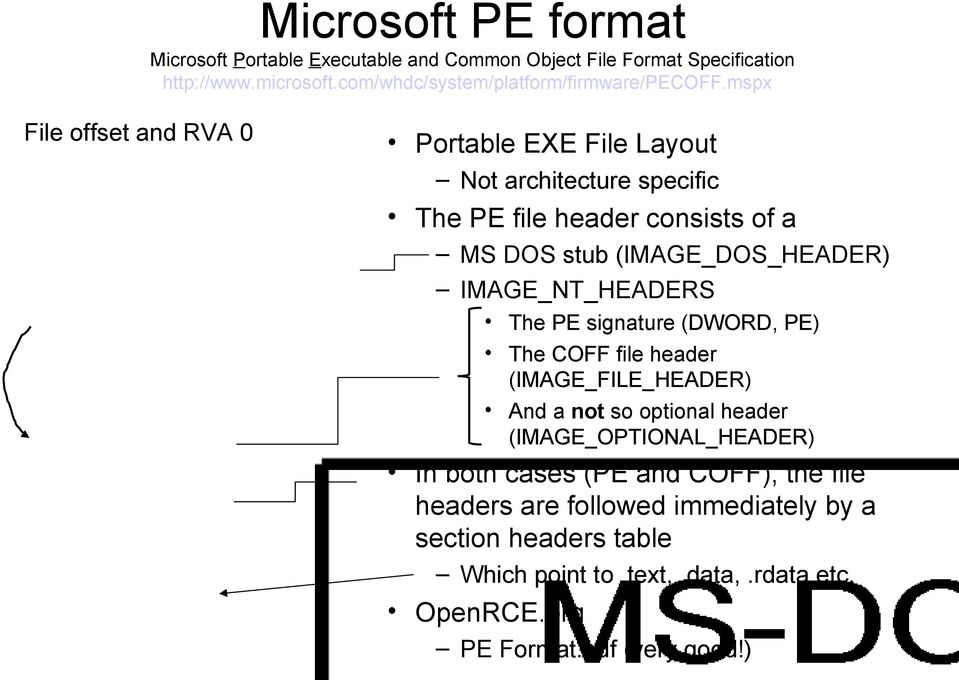 mspx File offset and RVA 0 Portable EXE File Layout Not architecture specific The PE file header consists of a MS DOS stub (IMAGE_DOS_HEADER)