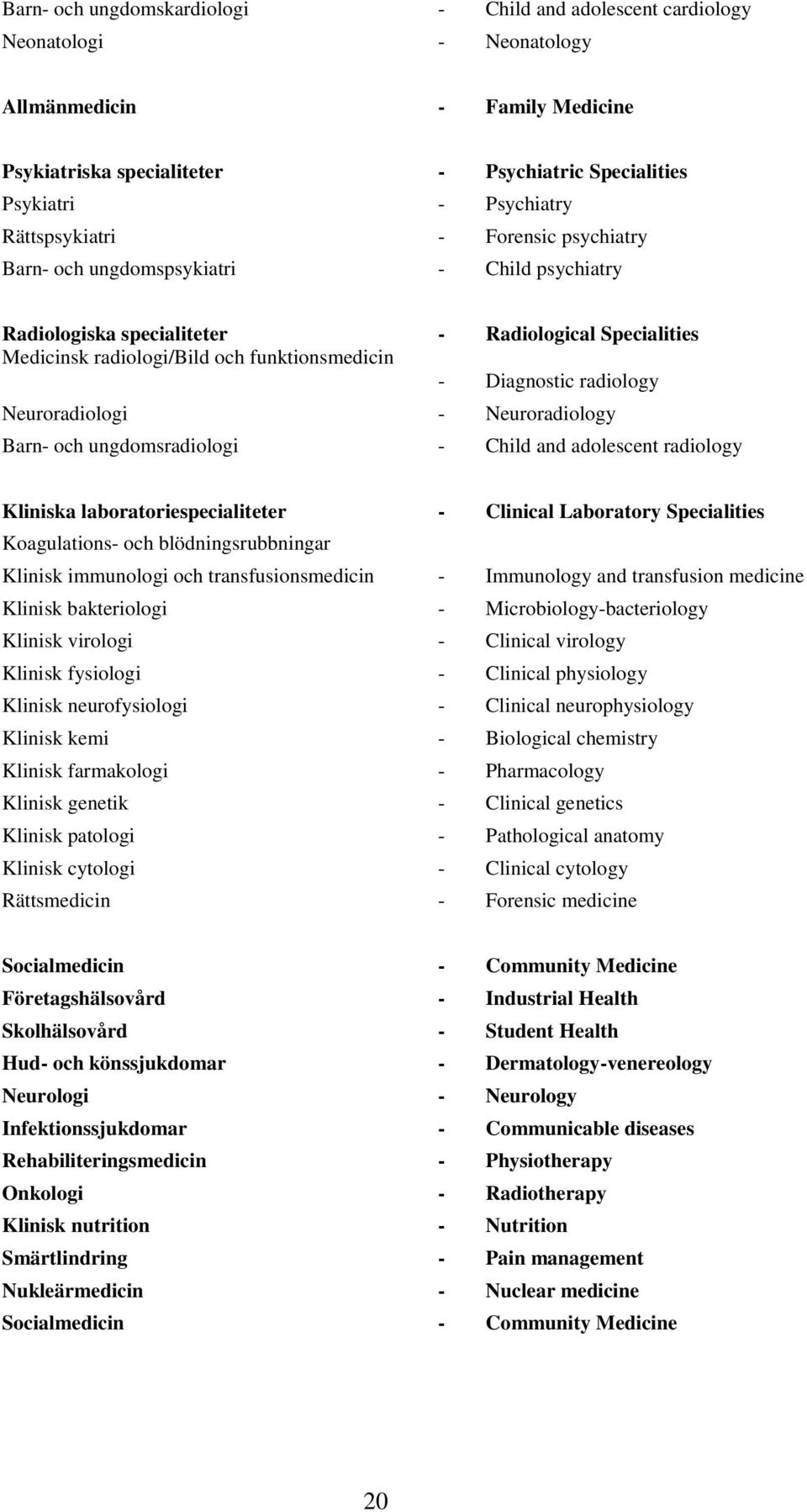 radiology Neuroradiologi - Neuroradiology Barn- och ungdomsradiologi - Child and adolescent radiology Kliniska laboratoriespecialiteter - Clinical Laboratory Specialities Koagulations- och