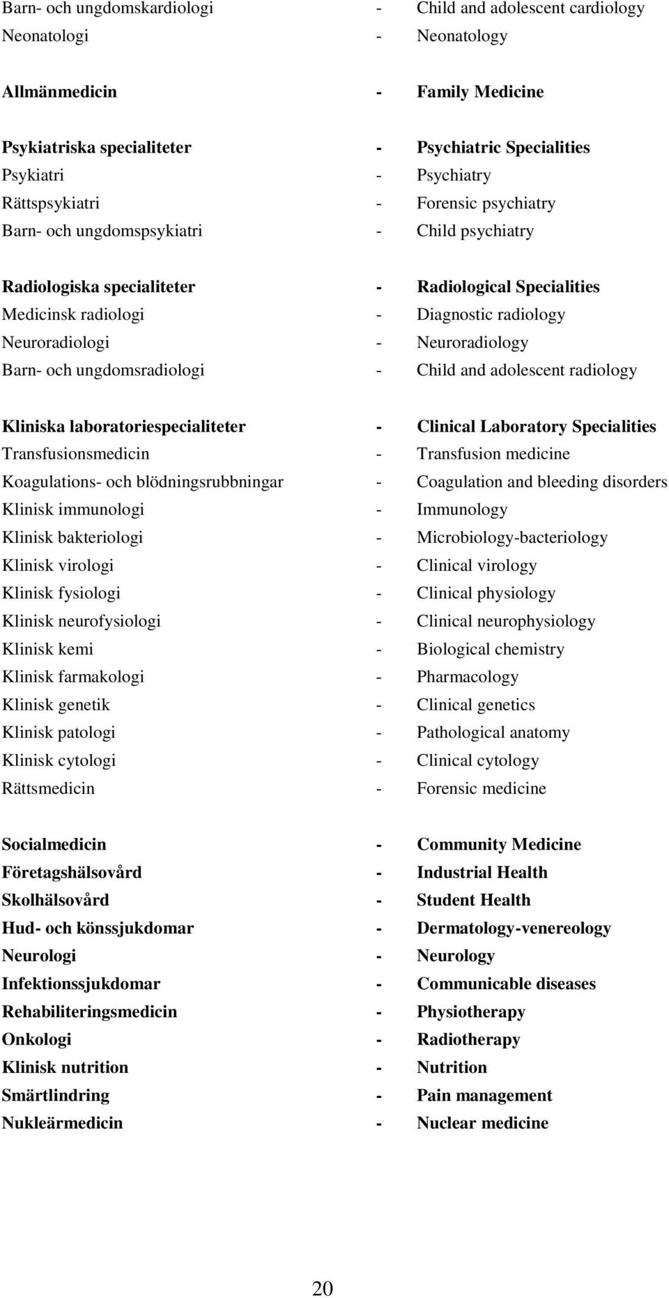 Neuroradiology Barn- och ungdomsradiologi - Child and adolescent radiology Kliniska laboratoriespecialiteter - Clinical Laboratory Specialities Transfusionsmedicin - Transfusion medicine