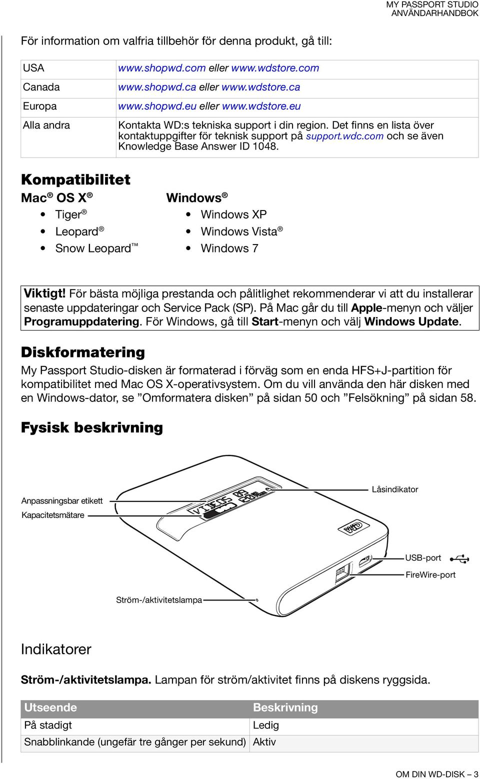 Kompatibilitet Mac OS X Windows Tiger Windows XP Leopard Windows Vista Snow Leopard Windows 7 Viktigt!