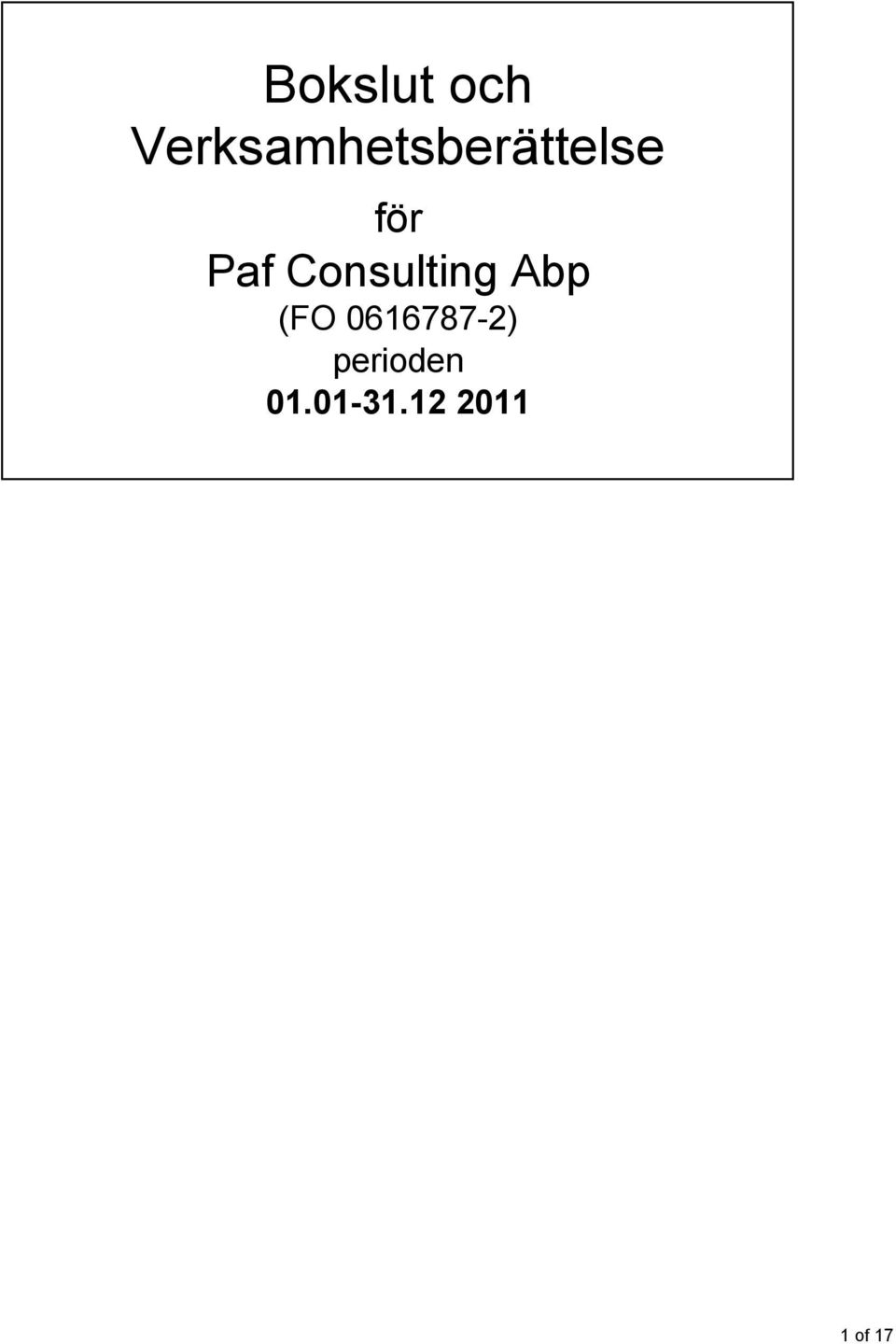 Paf Consulting Abp (FO