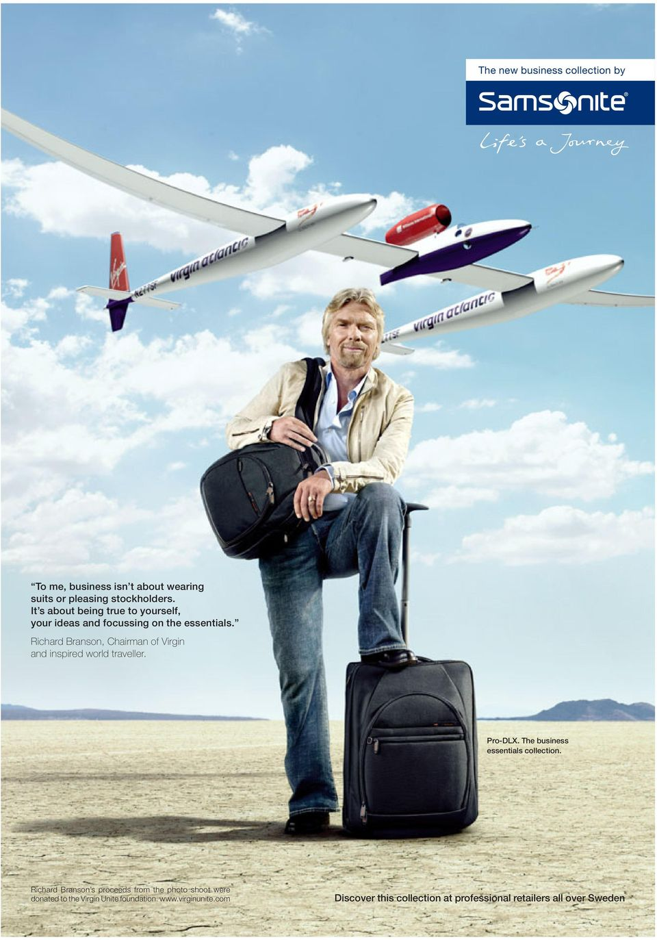 Richard Branson, Chairman of Virgin and inspired world traveller. Pro-DLX. The business essentials collection.