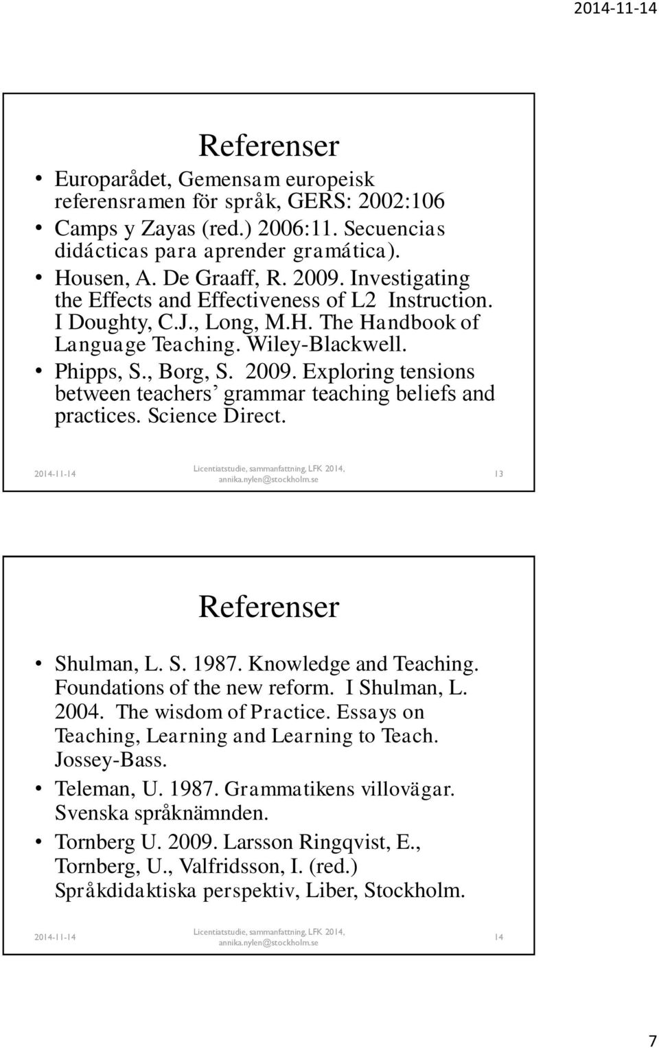 Exploring tensions between teachers grammar teaching beliefs and practices. Science Direct. 13 Referenser Shulman, L. S. 1987. Knowledge and Teaching. Foundations of the new reform. I Shulman, L.