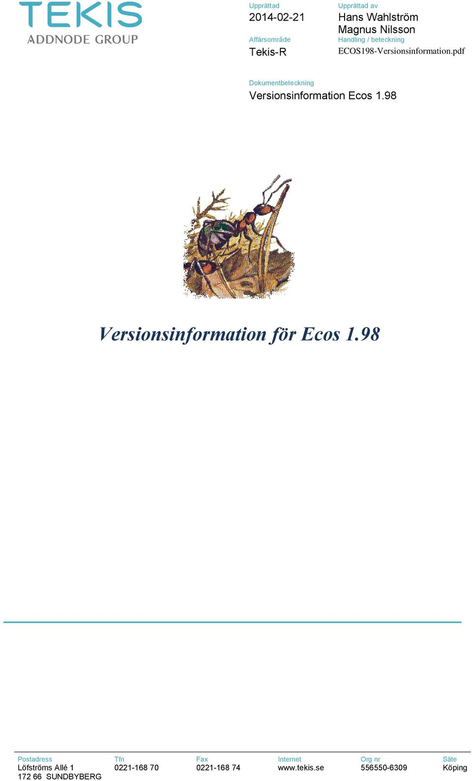 pdf Dokumentbeteckning Versionsinformation Ecos 1.98 Versionsinformation för Ecos 1.