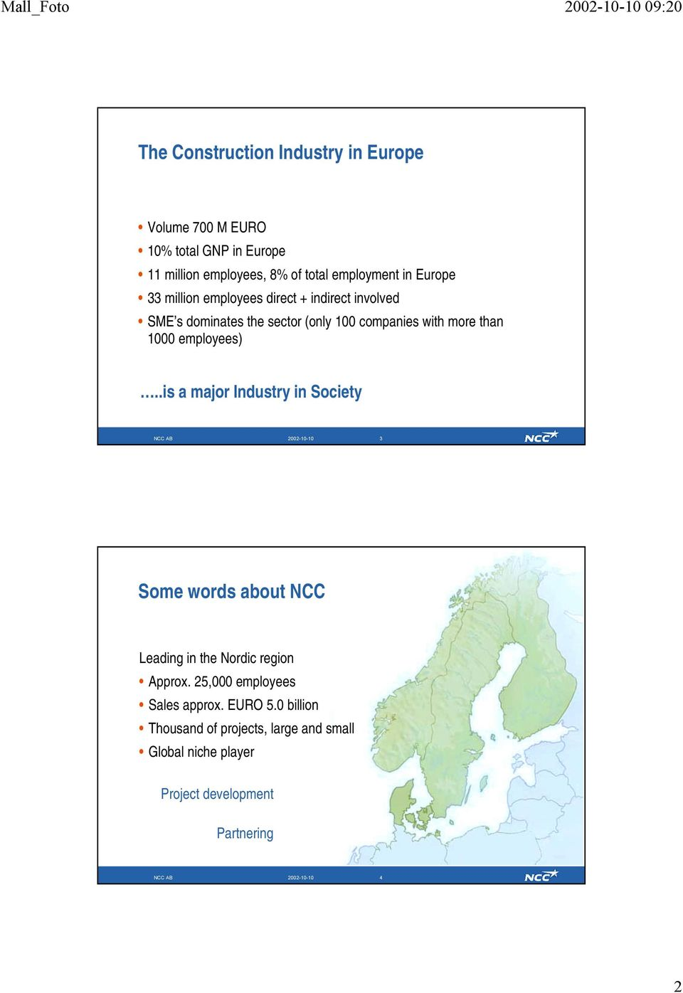 employees)..is a major Industry in Society NCC AB 2002-10-10 3 Some words about NCC Leading in the Nordic region Approx.