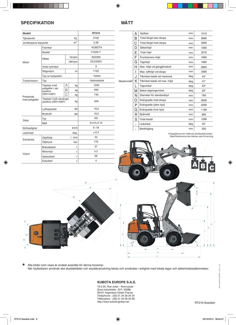 km/h. /min bar RT210 2100 0,38 KUBOTA V1505-T 33/2050 23,5/2050 3 1123 Vatten Hydrostatisk 1250 950 745 500 15,0 16,5 AS 31x15.5-15 0~18 ± 6.
