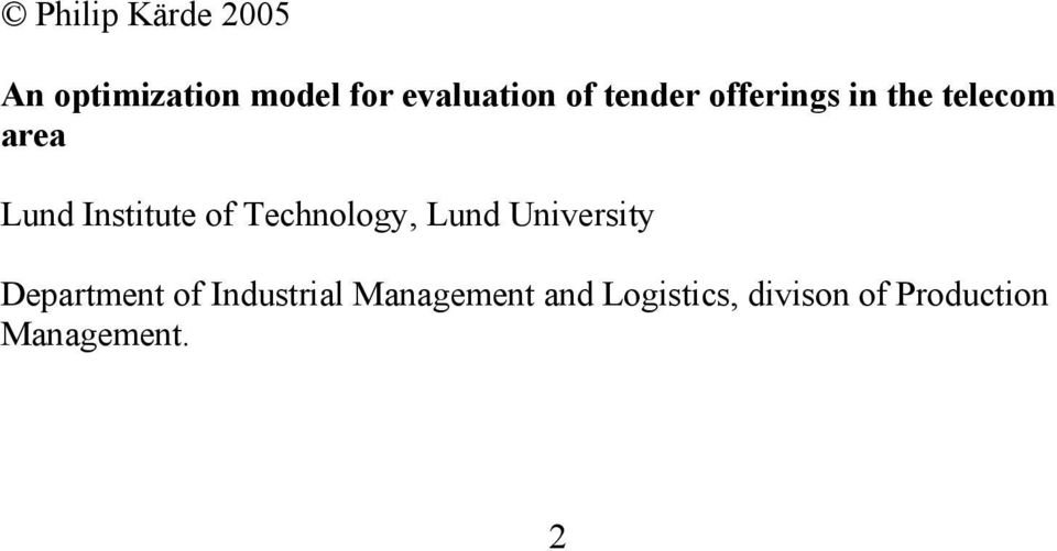 Technology, Lund Unversty Department of Industral