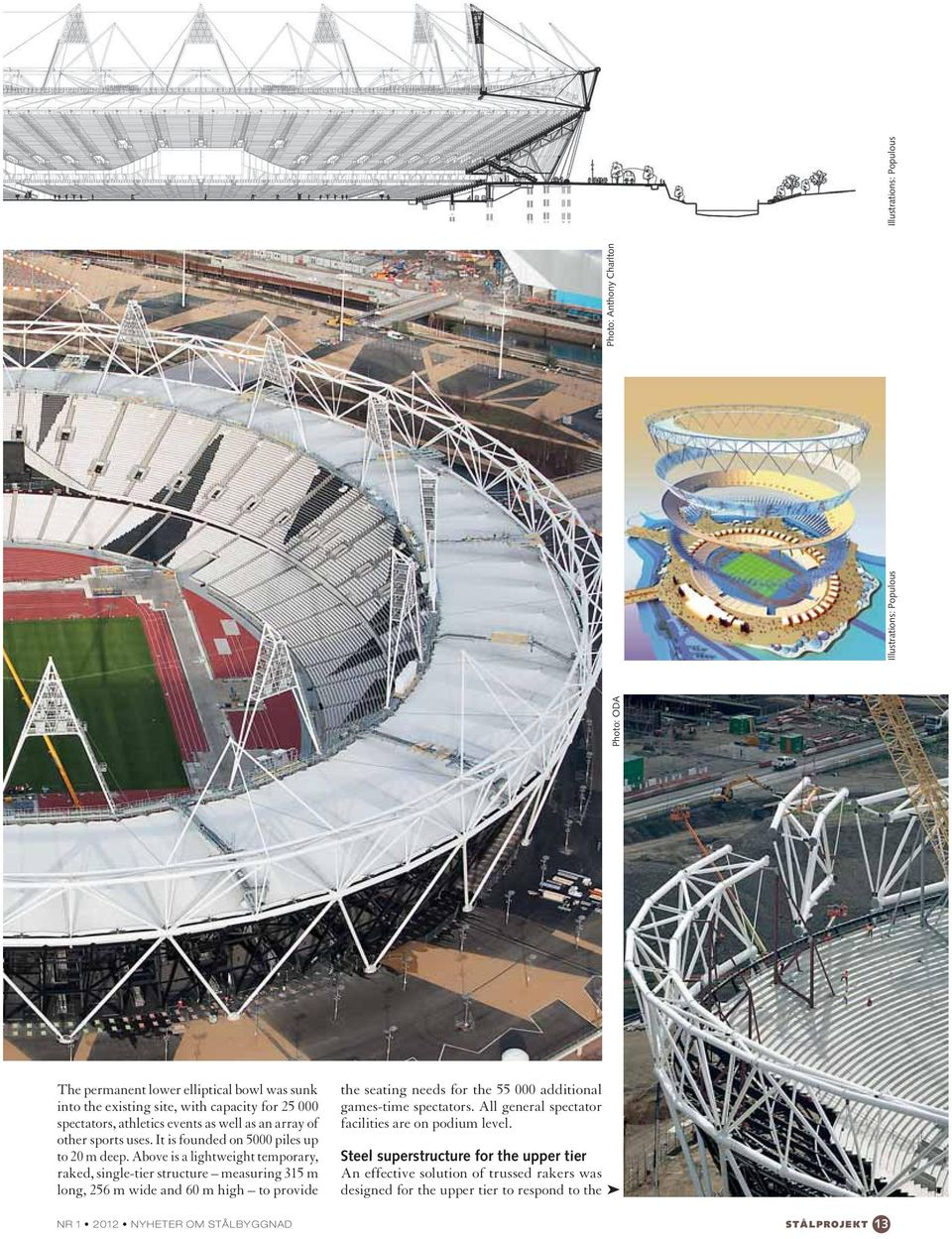 Above is a lightweight temporary, raked, single-tier structure measuring 315 m long, 256 m wide and 60 m high to provide the seating needs for the 55 000 additional