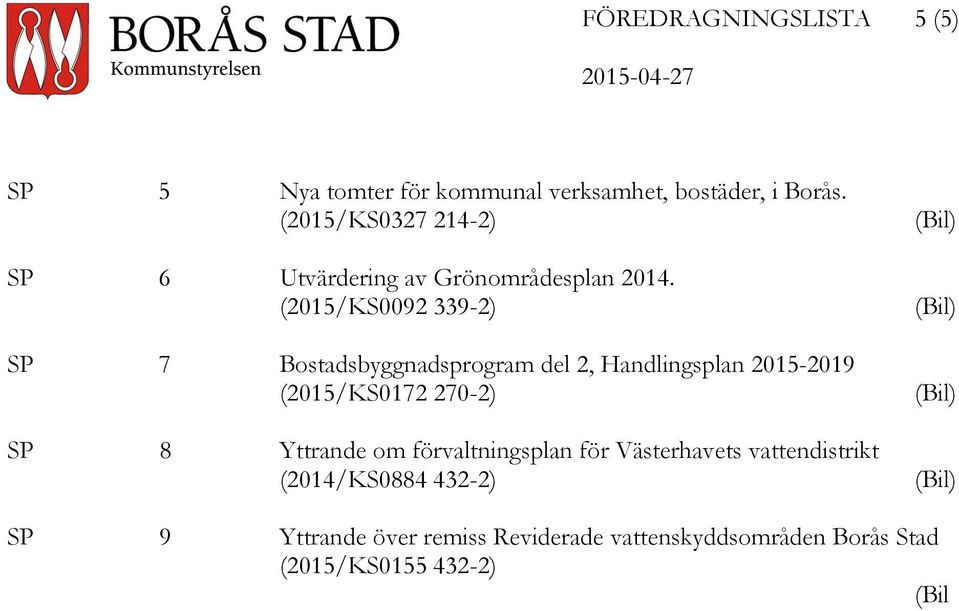 (2015/KS0092 339-2) SP 7 Bostadsbyggnadsprogram del 2, Handlingsplan 2015-2019 (2015/KS0172 270-2) SP 8 Yttrande