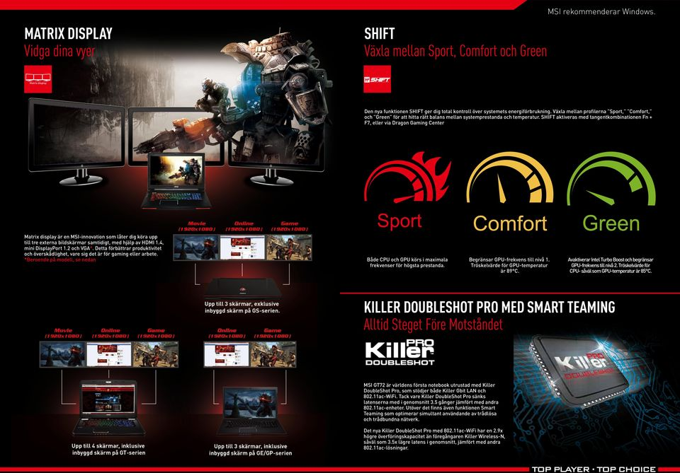 SHIFT aktiveras med tangentkombinationen Fn + F7, eller via Dragon Gaming Center är en MSI-innovation som låter dig köra upp till tre externa bildskärmar samtidigt, med hjälp av HDMI 1.