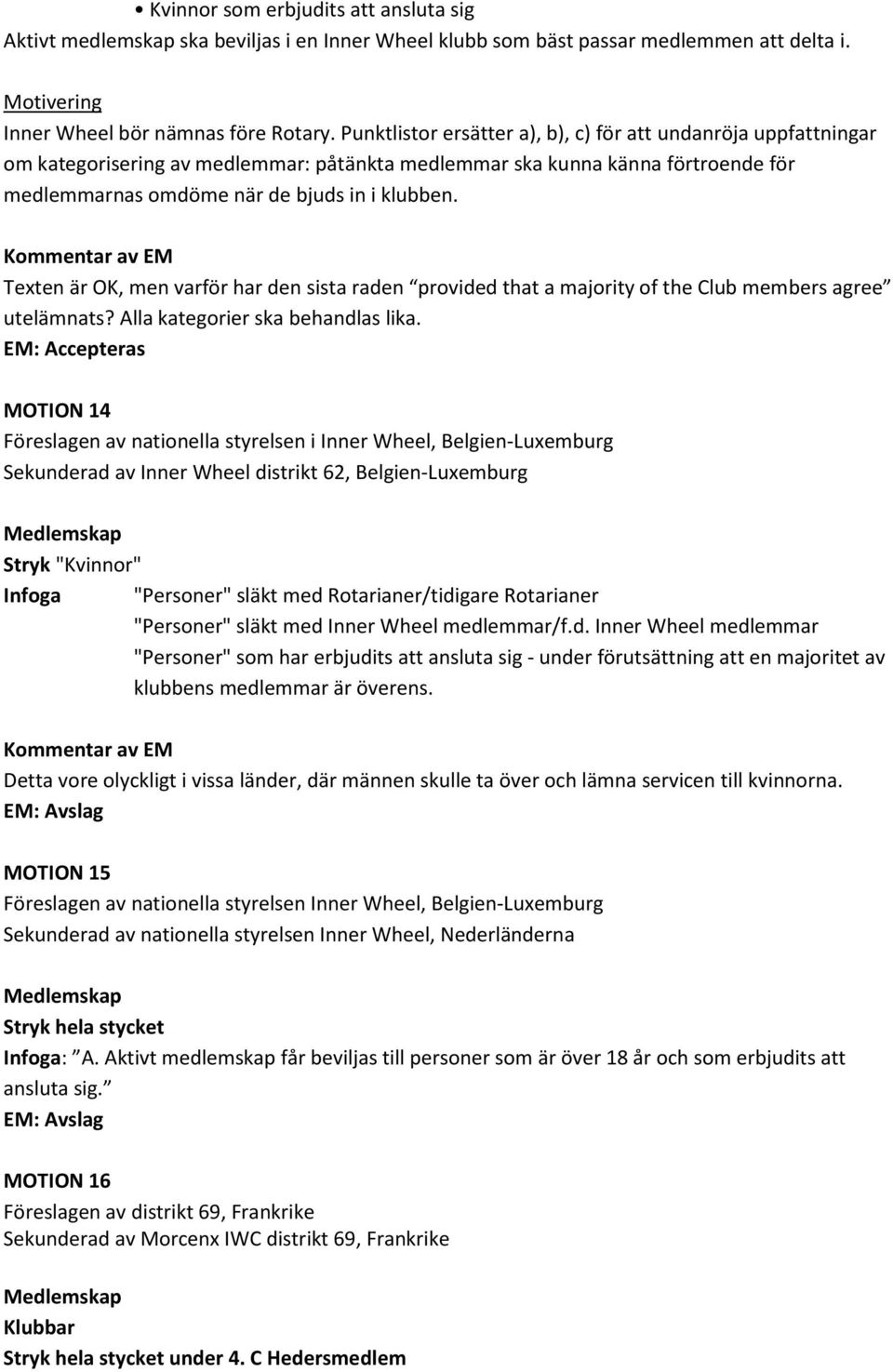 Kommentar av EM Texten är OK, men varför har den sista raden provided that a majority of the Club members agree utelämnats? Alla kategorier ska behandlas lika.