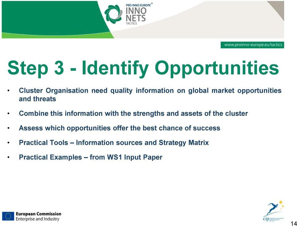 of the cluster Assess which opportunities offer the best chance of success Practical