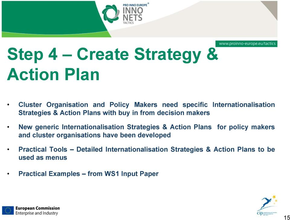 Internationalisation Strategies & Action Plans for policy makers and cluster organisations have been