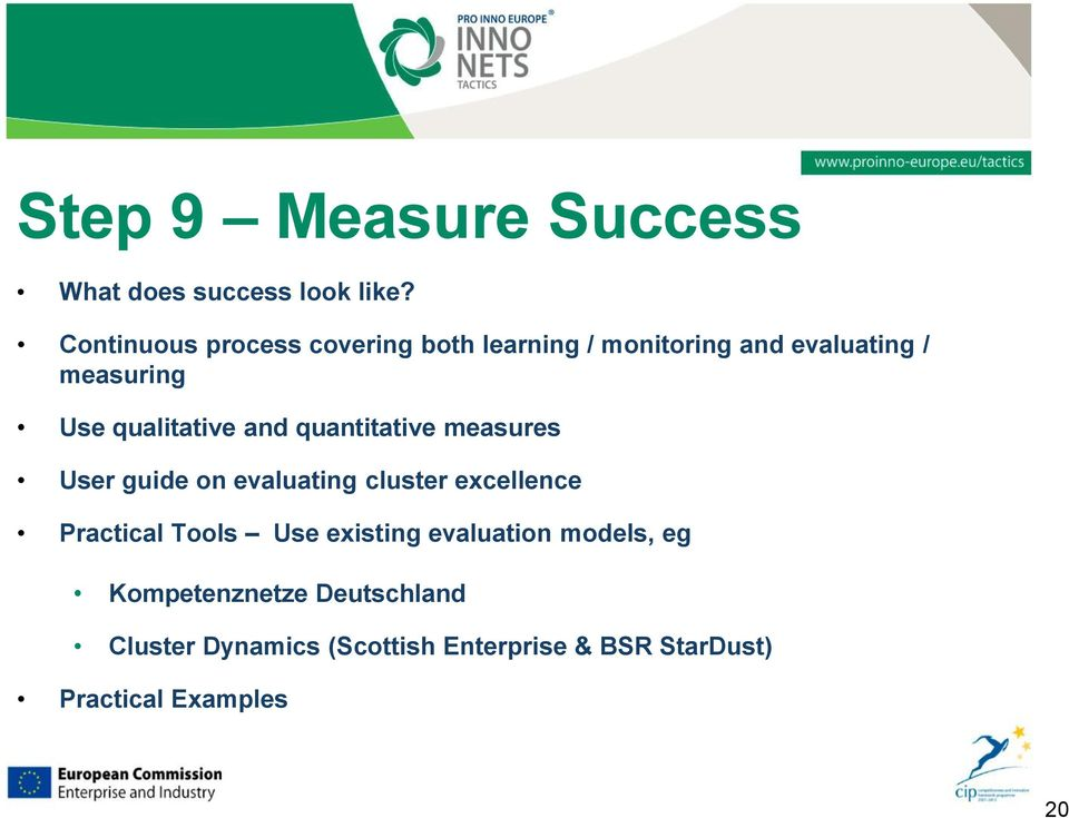 qualitative and quantitative measures User guide on evaluating cluster excellence Practical