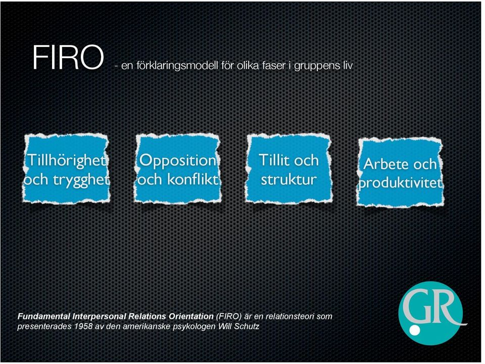 produktivitet Fundamental Interpersonal Relations Orientation (FIRO) är