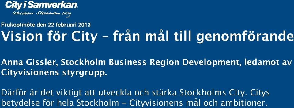 Business Region Development, ledamot av Cityvisionens styrgrupp.