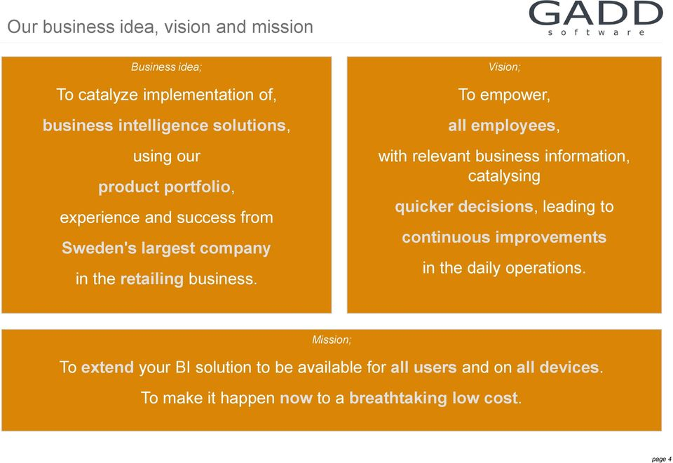 Vision; To empower, all employees, with relevant business information, catalysing quicker decisions, leading to continuous
