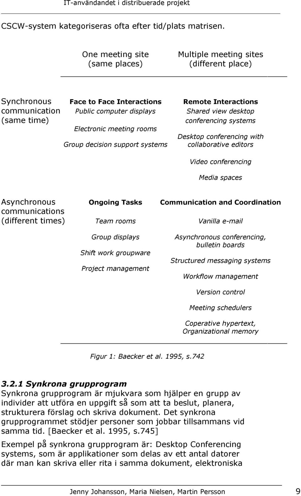 time) conferencing systems Electronic meeting rooms Desktop conferencing with Group decision support systems collaborative editors Video conferencing Media spaces Asynchronous Ongoing Tasks