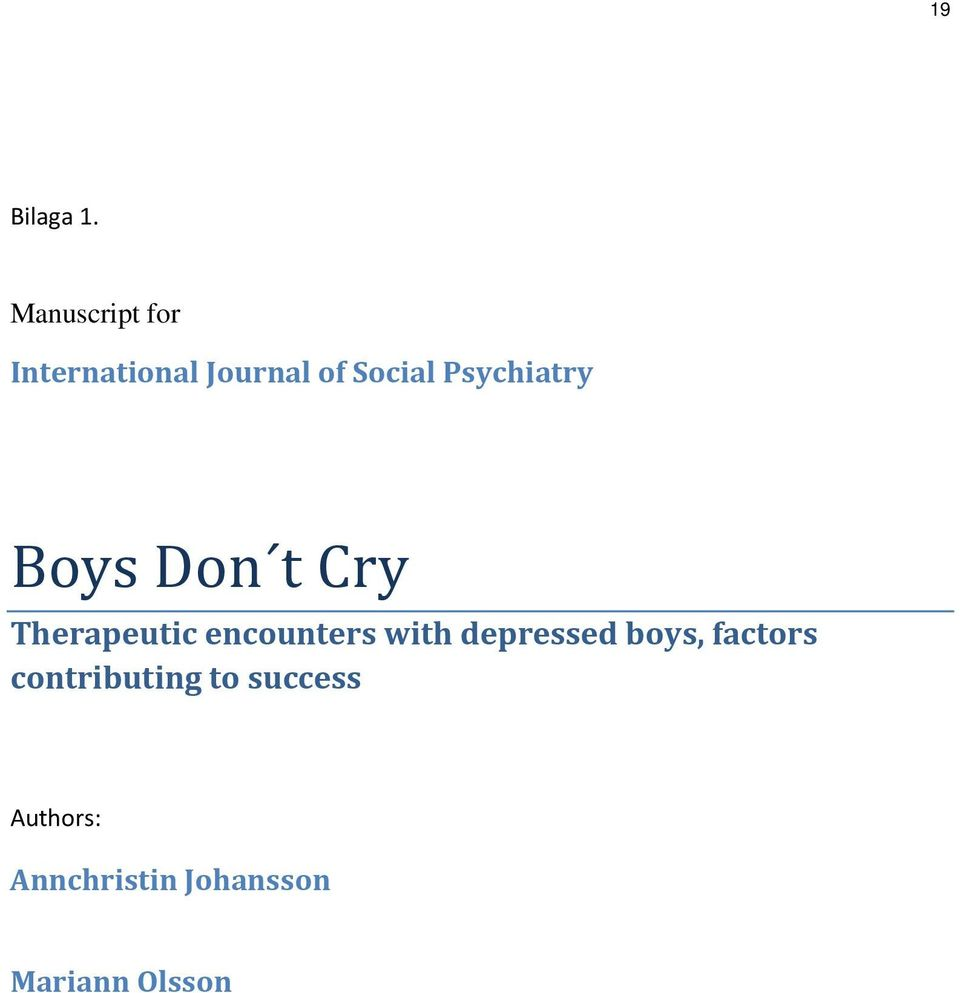 Psychiatry Boys Don t Cry Therapeutic encounters