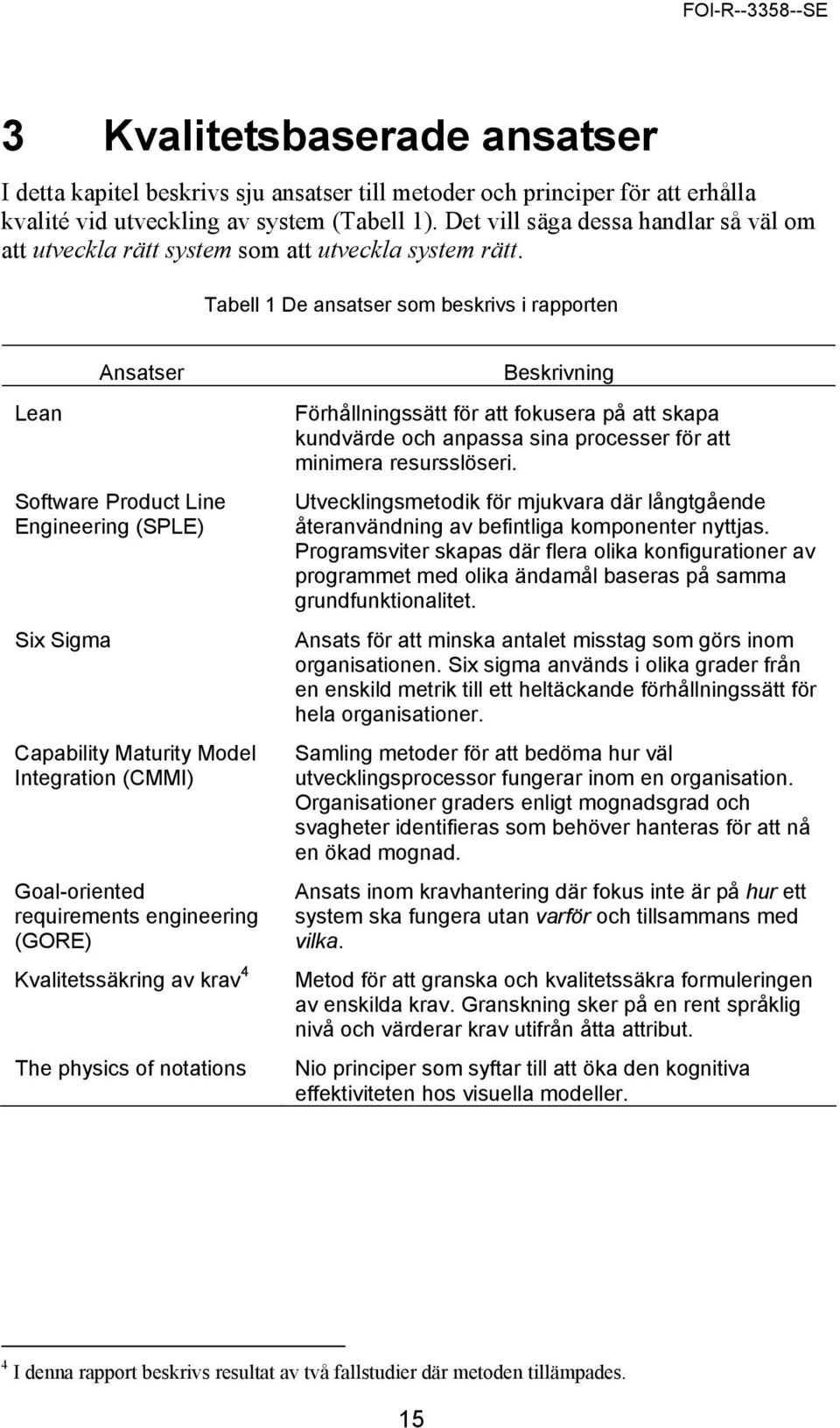 Tabell 1 De ansatser som beskrivs i rapporten Lean Ansatser Software Product Line Engineering (SPLE) Six Sigma Capability Maturity Model Integration (CMMI) Goal-oriented requirements engineering