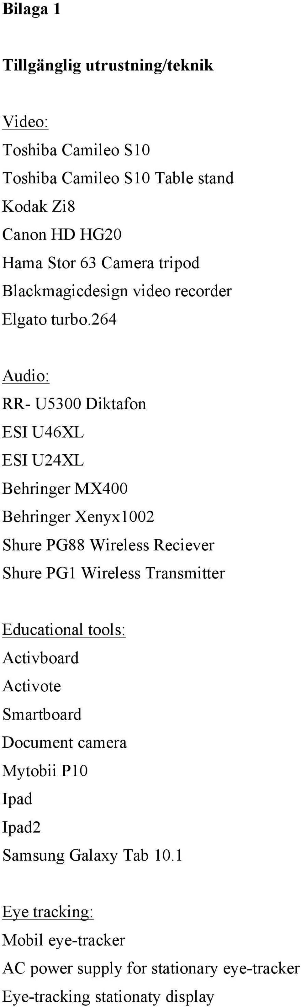 264 Audio: RR- U5300 Diktafon ESI U46XL ESI U24XL Behringer MX400 Behringer Xenyx1002 Shure PG88 Wireless Reciever Shure PG1 Wireless