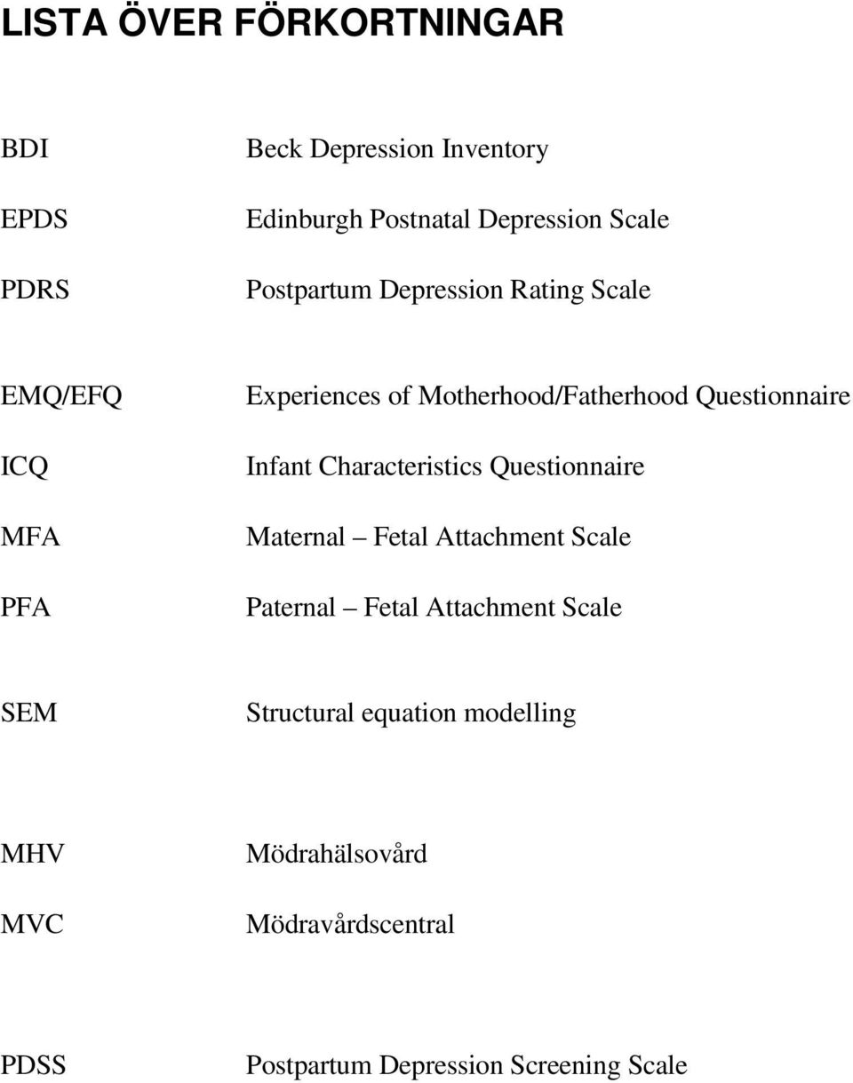 Infant Characteristics Questionnaire Maternal Fetal Attachment Scale Paternal Fetal Attachment Scale SEM