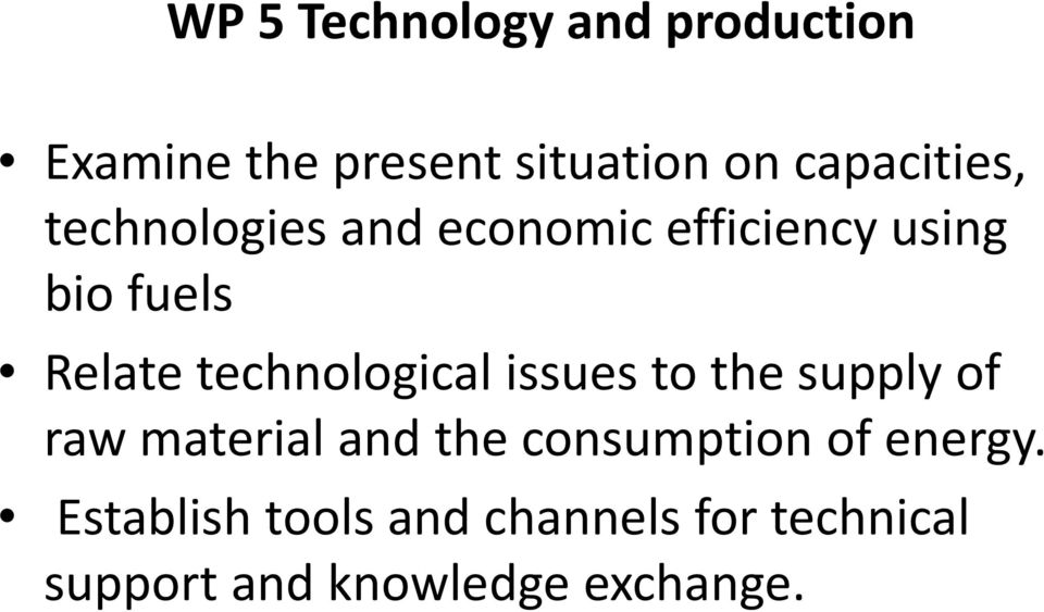 technological issues to the supply of raw material and the consumption