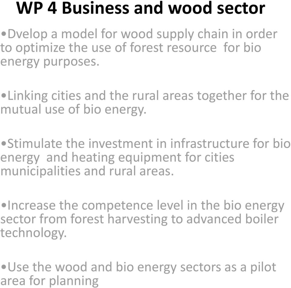 Stimulate the investment in infrastructure for bio energy and heating equipment for cities municipalities and rural areas.
