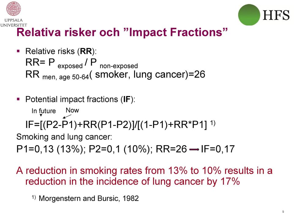 IF=[(P2-P1)+RR(P1-P2)]/[(1-P1)+RR*P1] 1) Smoking and lung cancer: P1=0,13 (13%); P2=0,1 (10%); RR=26