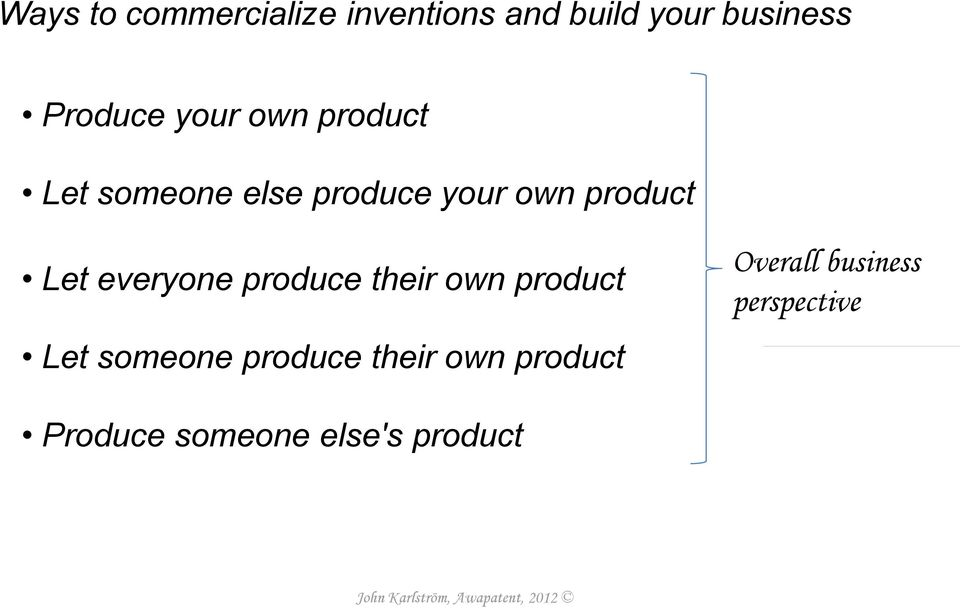 everyone produce their own product Let someone produce their own