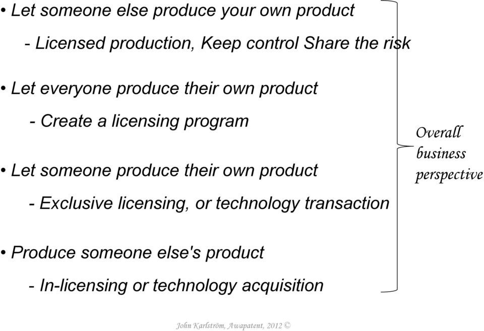 someone produce their own product - Exclusive licensing, or technology transaction