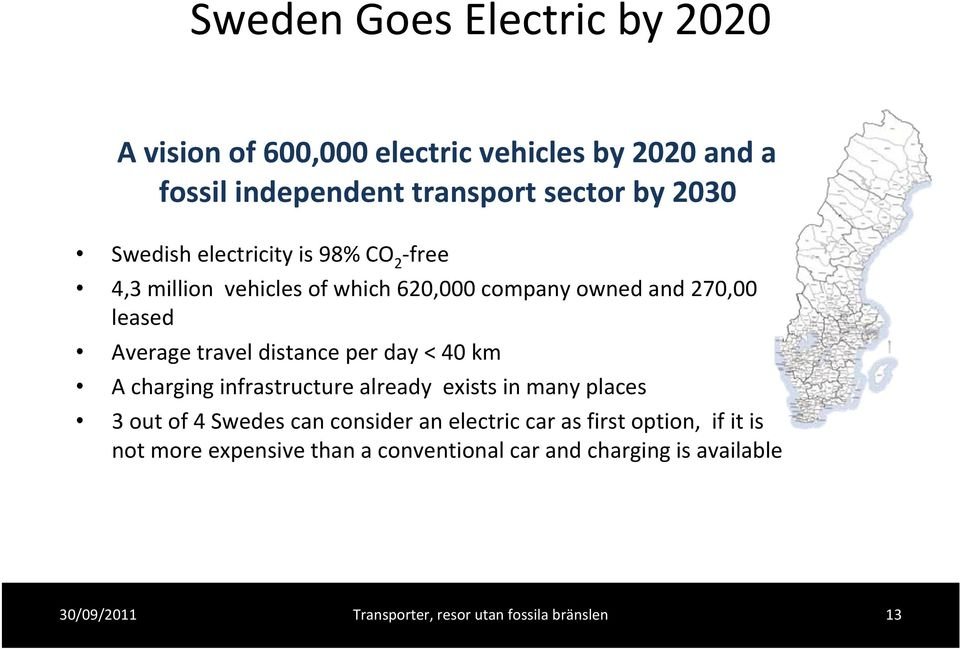 Average travel distance per day < 40 km A charging infrastructure already exists in many places 3 out of 4 Swedes can