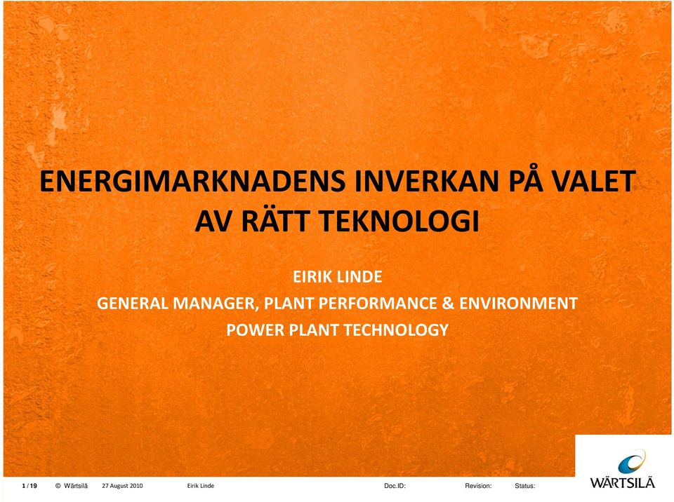 MANAGER, PLANT PERFORMANCE &
