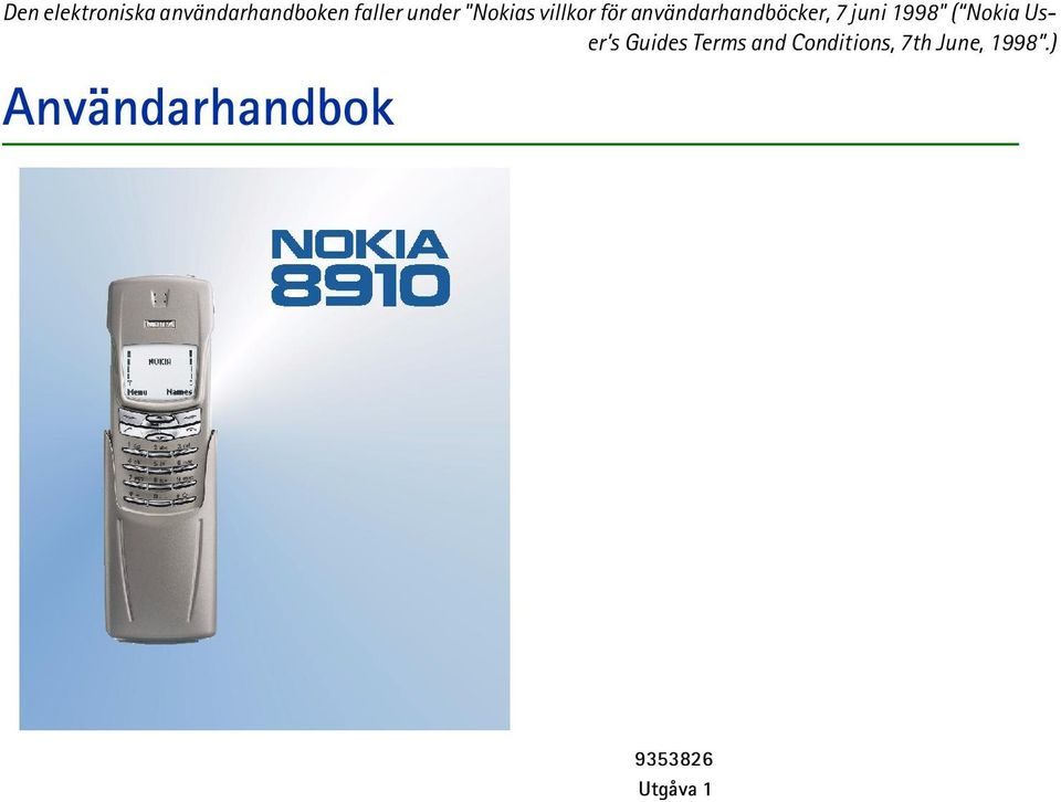 "1998"" ( Nokia User s Guides Terms and"