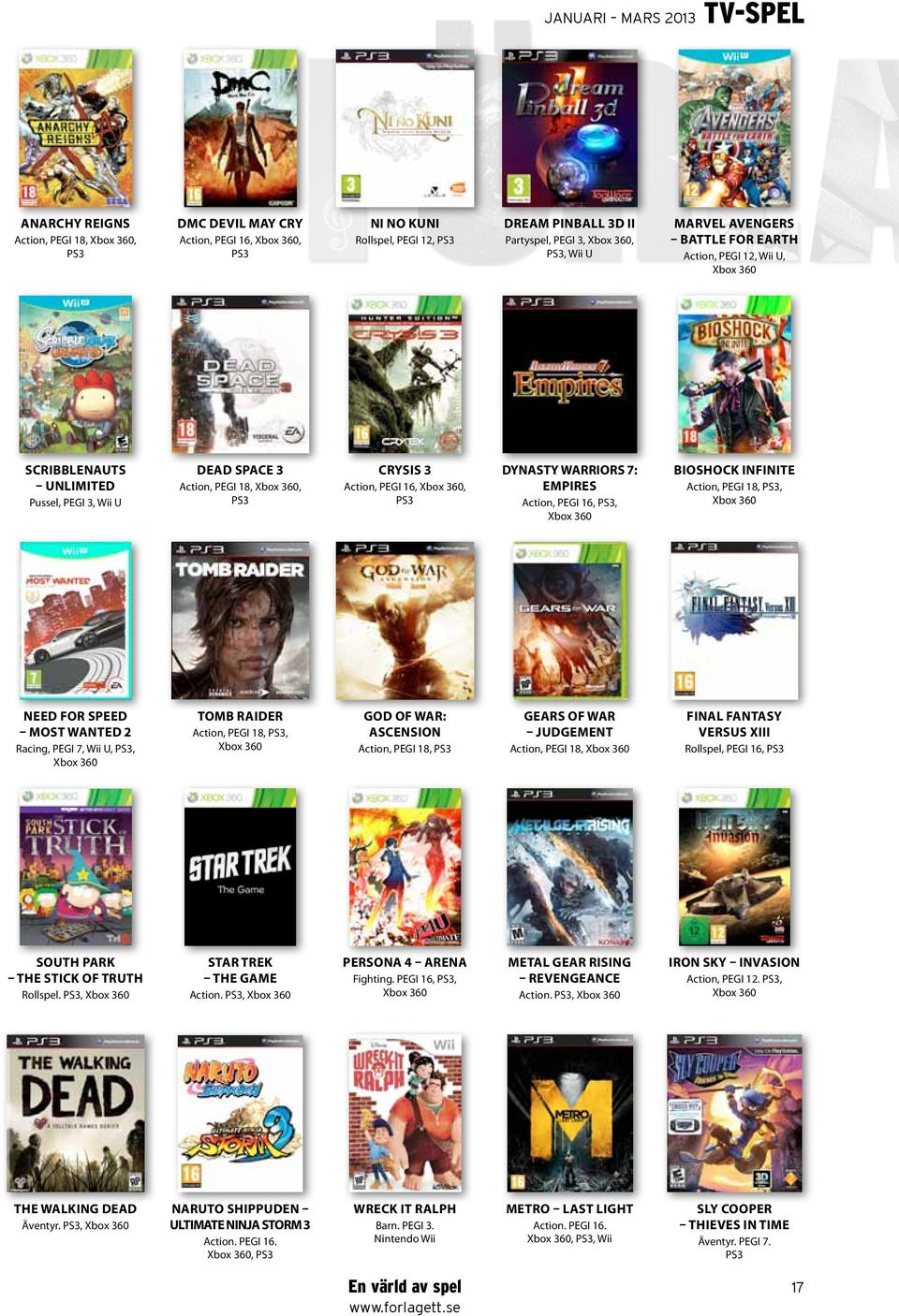 Xbox 360, PS3 Dynasty Warriors 7: Empires Action, PEGI 16, PS3, Xbox 360 Bioshock Infinite Action, PEGI 18, PS3, Xbox 360 Need for Speed Most Wanted 2 Racing, PEGI 7, Wii U, PS3, Xbox 360 Tomb Raider