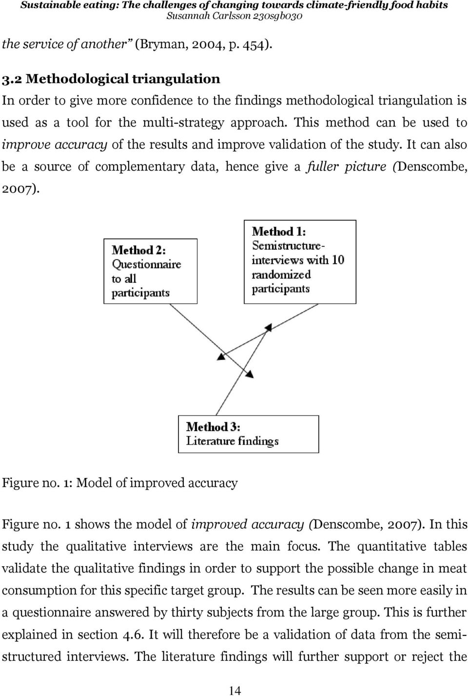 This method can be used to improve accuracy of the results and improve validation of the study. It can also be a source of complementary data, hence give a fuller picture (Denscombe, 2007). Figure no.