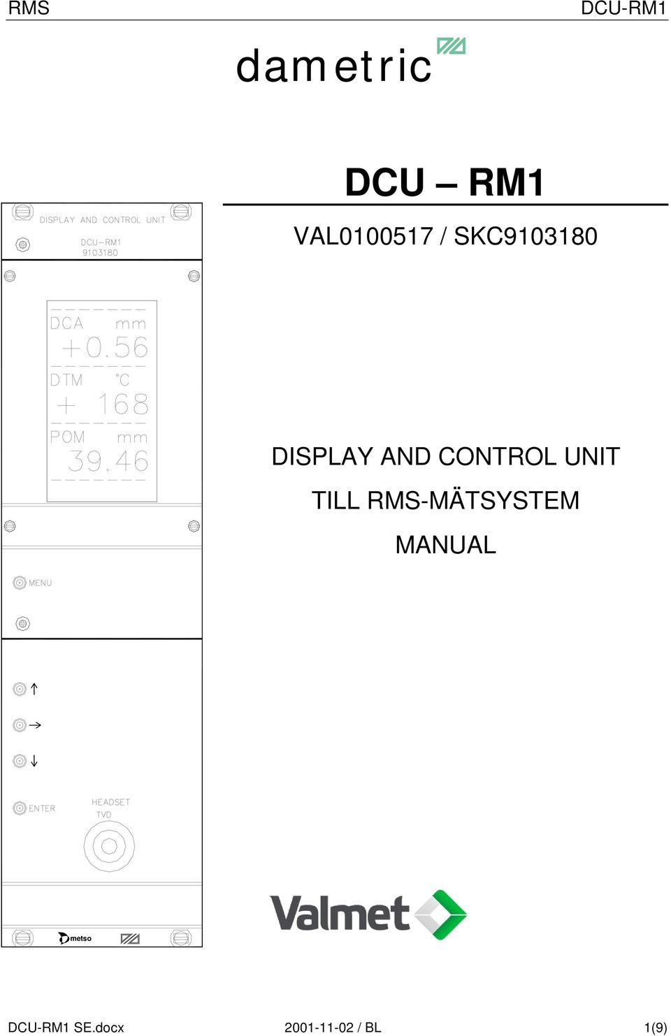 UNIT TILL RMS-MÄTSYSTEM MANUAL