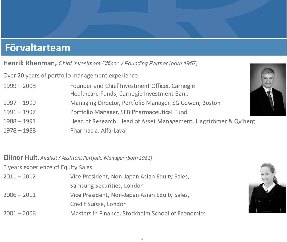 of Asset Management, Hagströmer & Qviberg 1978 1988 Pharmacia, Alfa-Laval Ellinor Hult, Analyst / Assistant Portfolio Manager (born 1981) 6 years experience of Equity Sales 2011 2012 Vice
