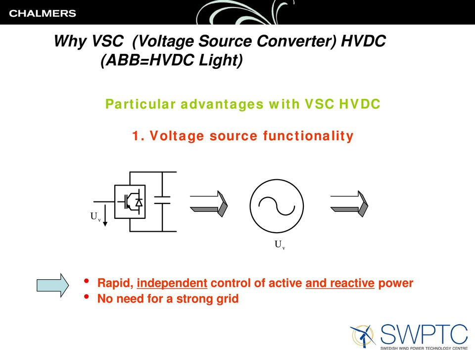 Voltage source functionality U v U v Rapid, independent