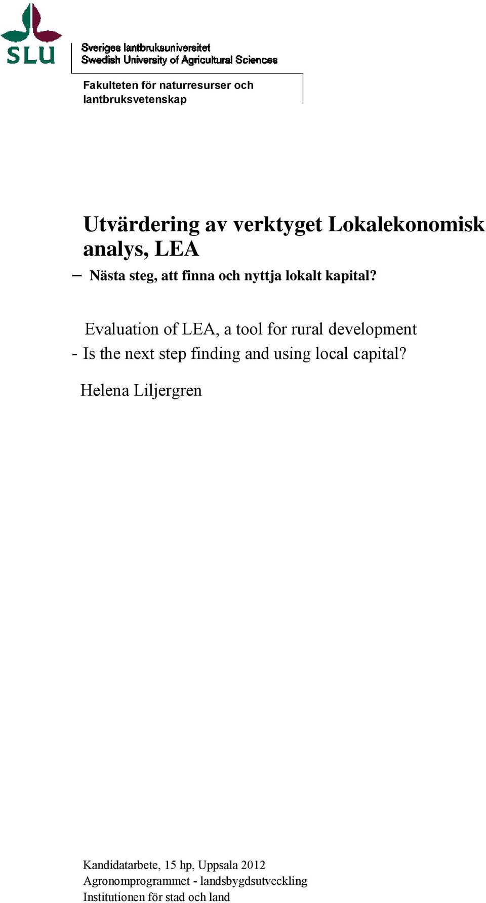 Evaluation of LEA, a tool for rural development - Is the next step finding and using local